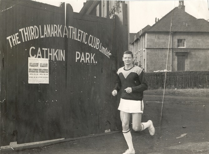 Dave Hilley training outside Cathkin Park in 1961. (Source: thirdlanarkac.co.uk
