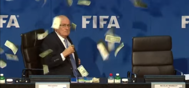 Oblatterated – Lee Nelson Covers Blatter In Cash